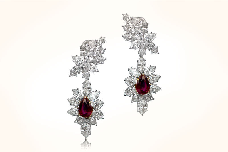 Harry Winston Ruby and Diamond Earrings
