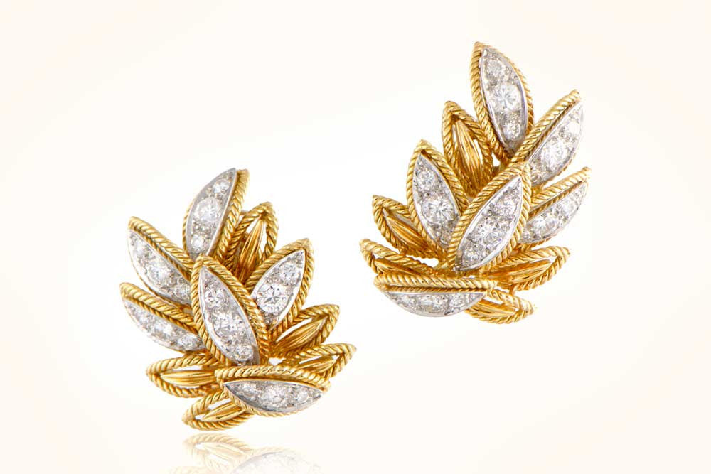 Van Cleef and Arpels Leaf Motif Earrings