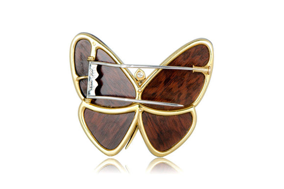Van Cleef Wood Butterfly Brooch