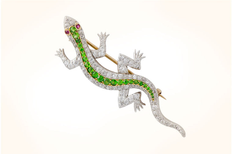 Antique Platinum Lizard Brooch