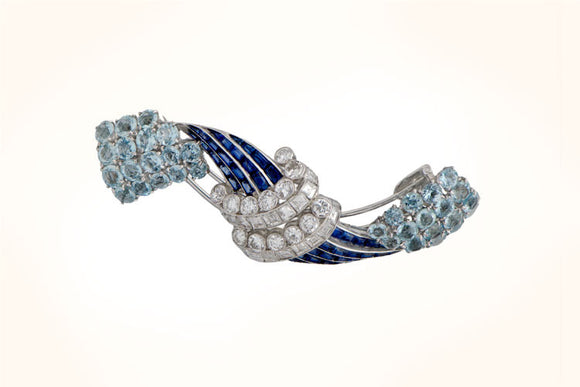 Vintage Diamond, Sapphire and Aquamarine Brooch