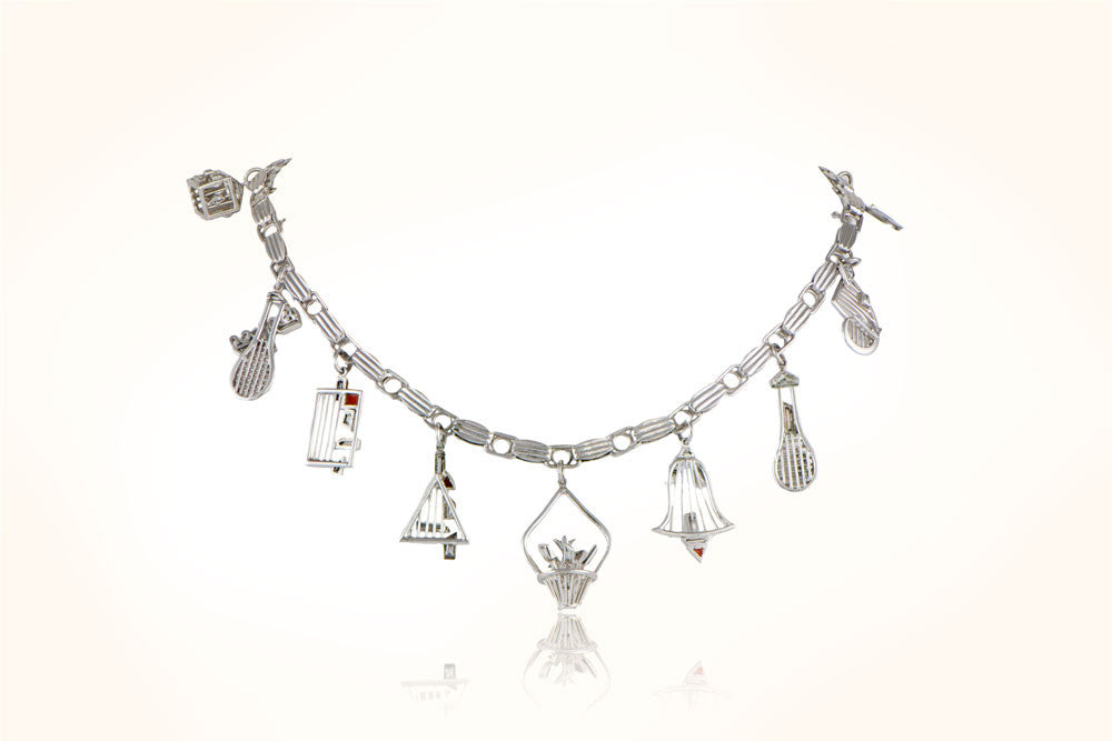 "Retro ""US Open"" Platinum Charm Bracelet"