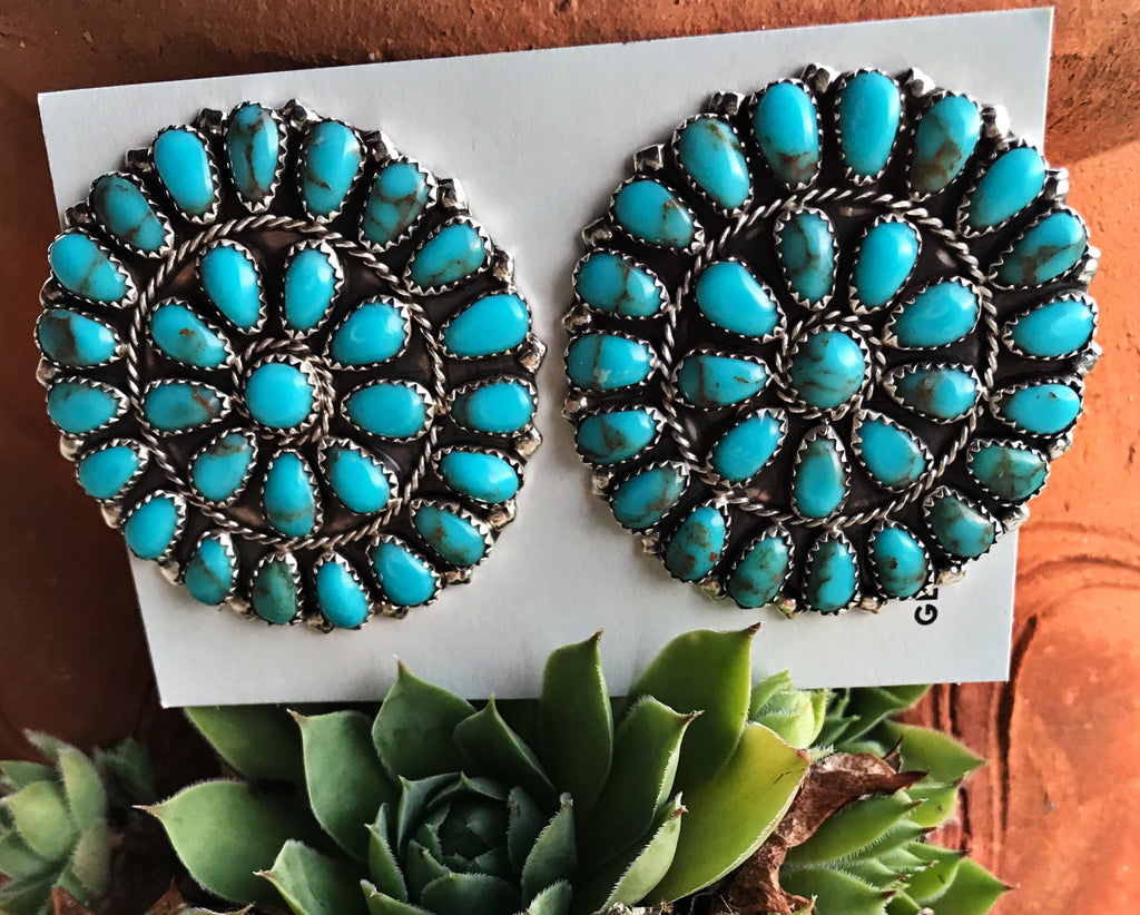 The Silverton Earrings Authentic Turquoise