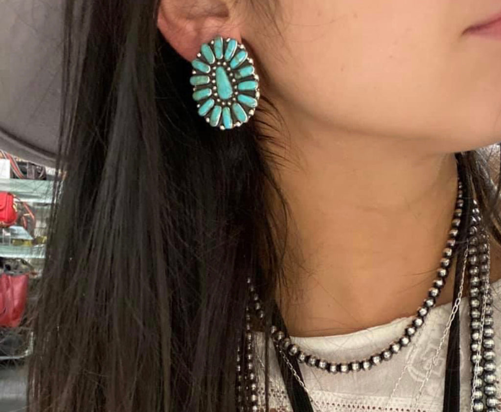 Authentic Turquoise Cluster Earrings