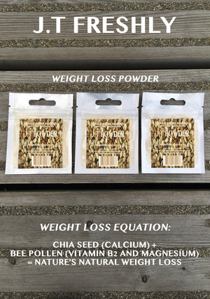 APPETITE SUPPRESSANT - GROUND CHIA SEED AND GROUND BEE POLLEN WEIGHT LOSS POWDER PROGRAMME (12 PACKS RRP £1.20/UNIT)