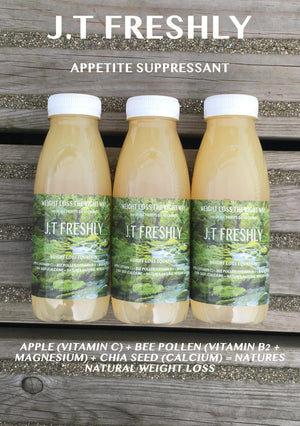 APPETITE SUPPRESSANT - APPLE, GROUND CHIA SEED AND GROUND BEE POLLEN WEIGHT LOSS JUICE PROGRAMME-J.T Freshly