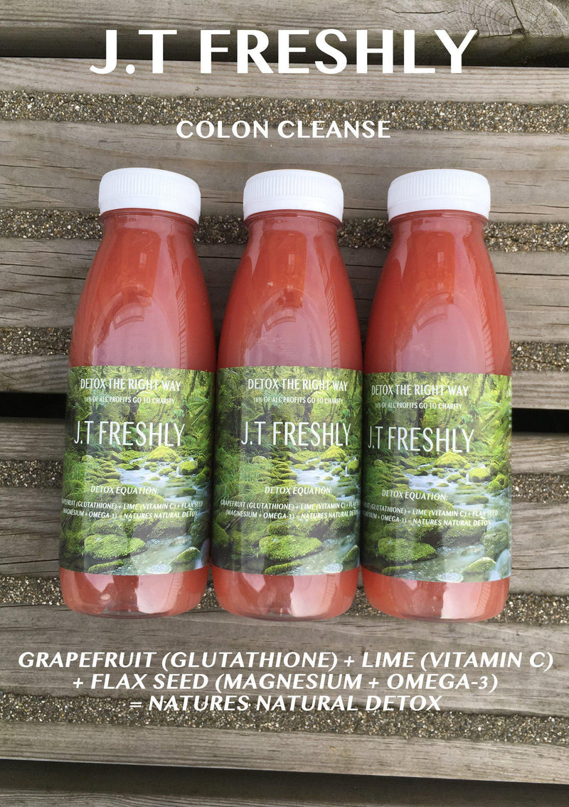 COLON CLEANSE - GRAPEFRUIT, LIME AND GROUND FLAXSEED DETOX JUICE PROGRAMME-J.T Freshly