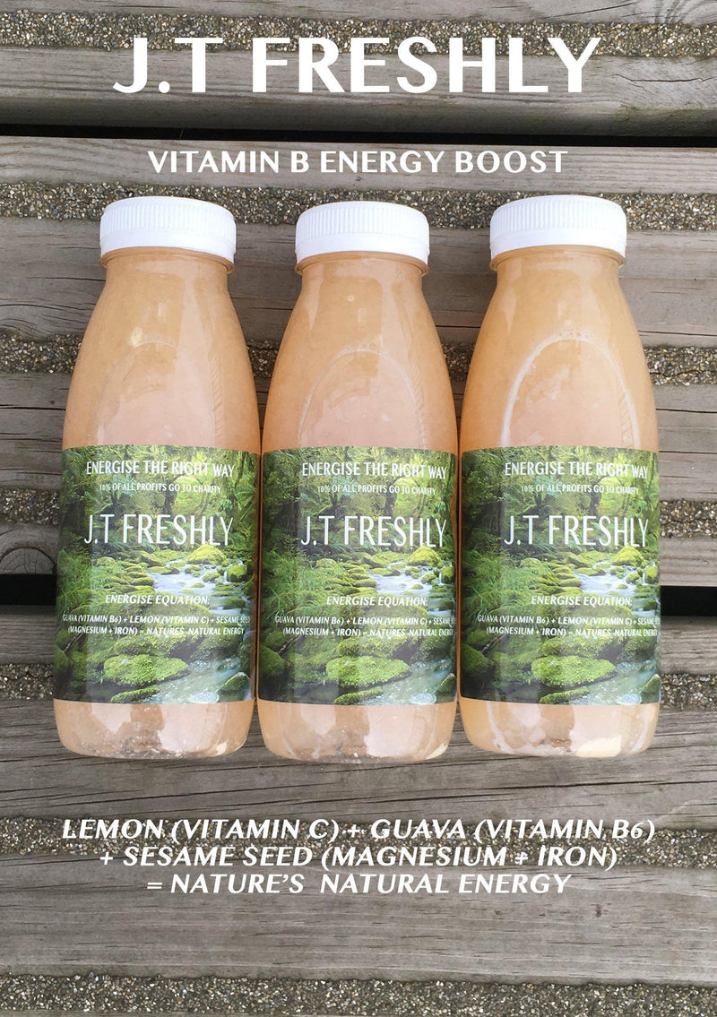 VITAMIN B ENERGY BOOST - LEMON, GUAVA AND GROUND SESAME SEED ENERGY JUICE PROGRAMME-J.T Freshly