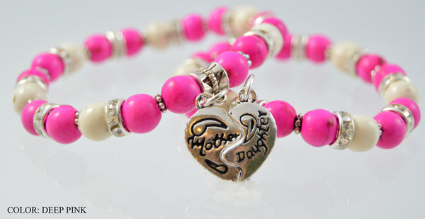 Deep Pink Mother and Daughter Bracelet - 'Mommy and Me' Collection - Flying Bird Jewelry