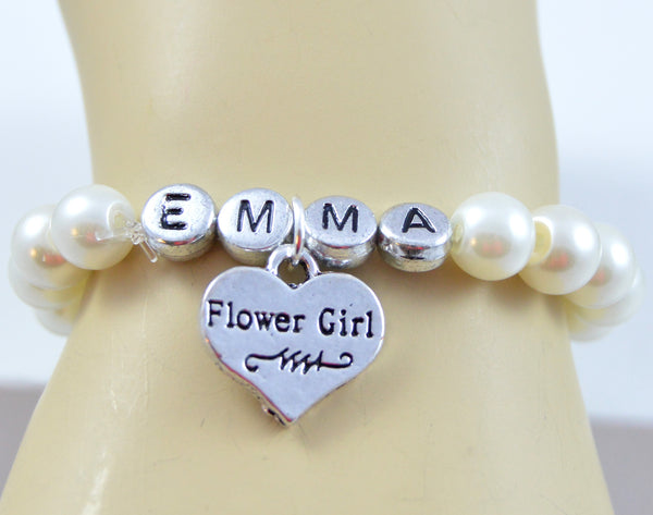Wedding Jewelry - Name Flower Girl Bracelet - Flying Bird Jewelry