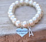 Wedding Jewelry - Bridesmaid Initial Bracelet - Flying Bird Jewelry