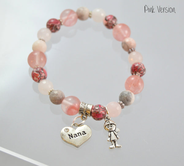 Pink Nana Bracelet w/ Grandkid Charms - Flying Bird Jewelry