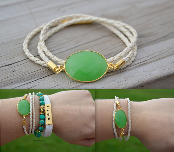 Natural Chalcedony Leather Wrapped Bracelet - Flying Bird Jewelry