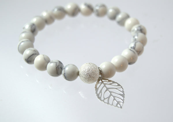 White Turquoise Beaded Bracelet with Leaf Charm - Flying Bird Jewelry