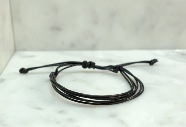 Black Waxed Cord Bracelet - Waterproof - Adjustable - Flying Bird Jewelry