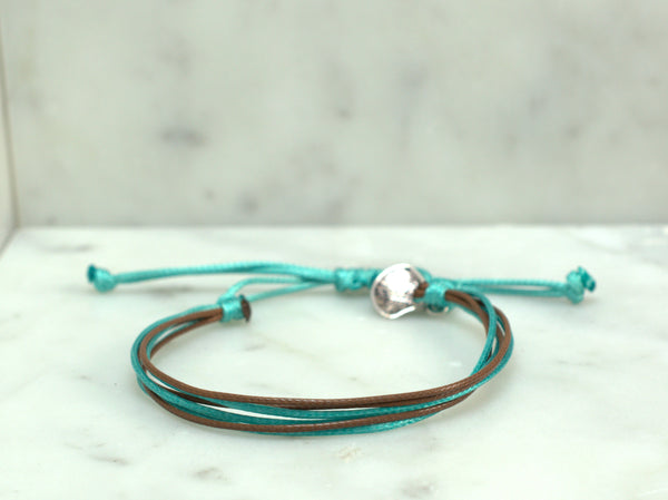 Sea Shell Waxed Cord Bracelet - Turquoise and Brown - Flying Bird Jewelry