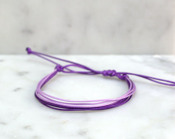 Purple Waxed Cord Adjustable Bracelet - Flying Bird Jewelry