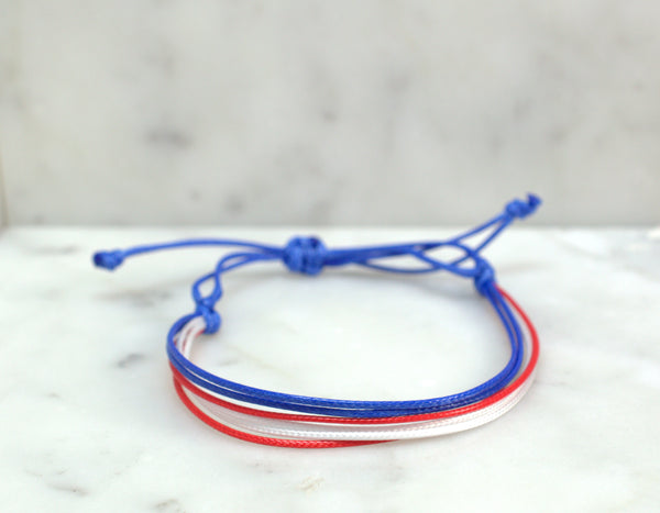 Red White and Blue Adjustable Cord Bracelet - Flying Bird Jewelry