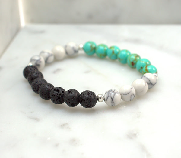 Natural Lava Stone Beaded Bracelet - Black, White and Turquoise - Flying Bird Jewelry