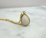 Golden Tone Brass White Smoke Faceted Pendant Necklace - Flying Bird Jewelry
