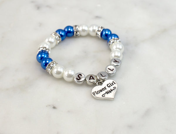 Royal Blue & White Flower Girl Bracelet - Flying Bird Jewelry