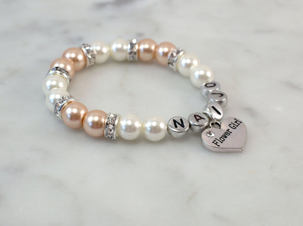 Wedding Jewelry | Champagne & Beige Name Flower Girl Bracelet - Flying Bird Jewelry