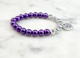 Violet Flower Girl Name Bracelet - Flying Bird Jewelry