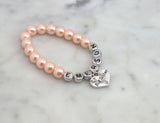 Blush Personalized Big Sister Pearl Bracelet - Flying Bird Jewelry