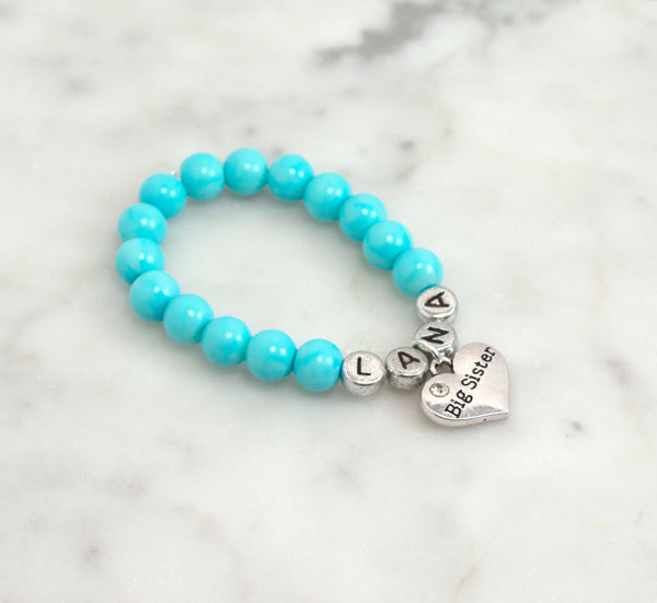 Personalized Big Sister Pearl Bracelet - Sky Blue - Flying Bird Jewelry