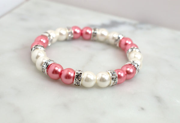 Coral Pink and Ivory Rhinestone Pearl Bracelet - Flying Bird Jewelry