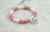 Coral Pink & Ivory Flower Girl Pearl Bracelet - Flying Bird Jewelry