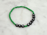 Custom Personalized Green Seed Bead Bracelet - Flying Bird Jewelry