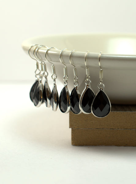 Black Tear Drop Earrings - Flying Bird Jewelry