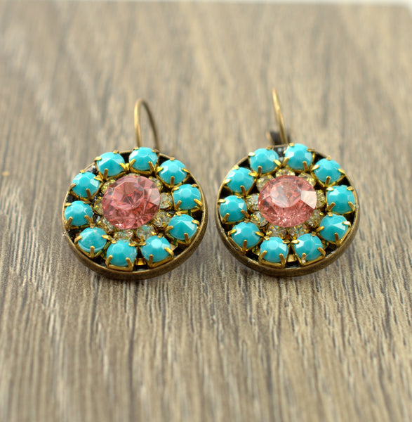 Turquoise and Pink Bronze Lever Back Earrings - Flying Bird Jewelry