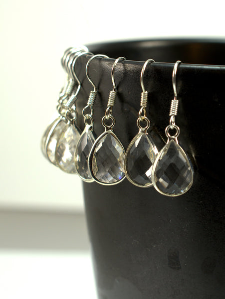 Clear Glass Teardrop Silver Earrings - Flying Bird Jewelry