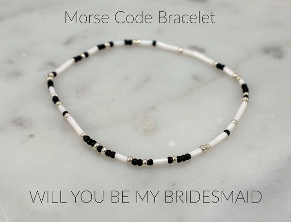 Wedding Jewelry- Morse Code - Will you be my Bridesmaid? - Bracelet - Flying Bird Jewelry