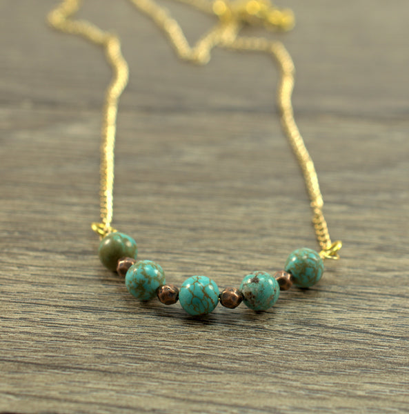 Turquoise Beaded Gold Necklace - Flying Bird Jewelry