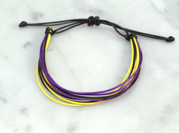 Adjustable Waxed Cord Bracelet - Purple, Yellow & Black - Flying Bird Jewelry