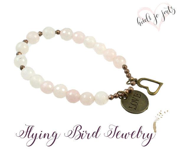 Love Rose Quartz Bracelet - Flying Bird Jewelry