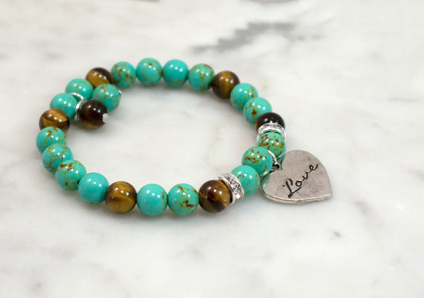 Love Charm Bracelet, Turquoise and Tiger Eye Beads, Beaded Bracelet, Stretch - Flying Bird Jewelry