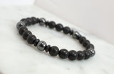 Black Beaded Men's Stretch Bracelet - Flying Bird Jewelry