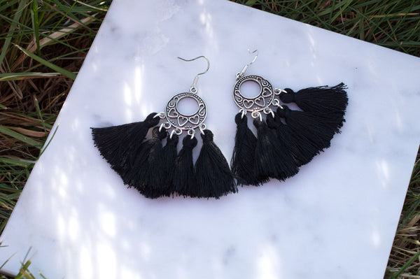 Black Tassel Earrings - Flying Bird Jewelry