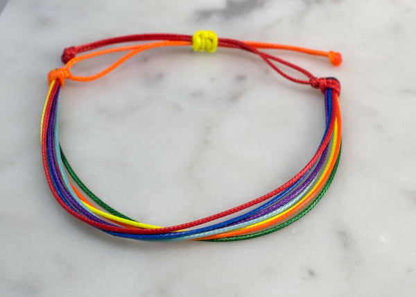Rainbow Waxed Cord Bracelet - Flying Bird Jewelry