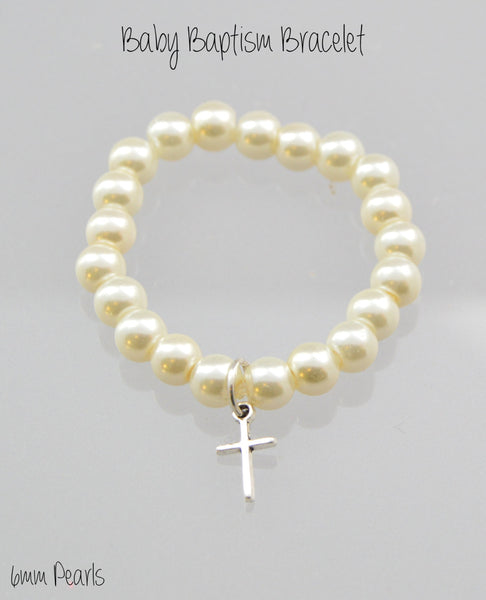 Baptism Jewelry Pearl Bracelet, Christening Jewelry, Faith Bracelet, Cross Bracelet, Toddler Bracelet, Baptism Gift, Baptism Bracelet, Ivory - Flying Bird Jewelry