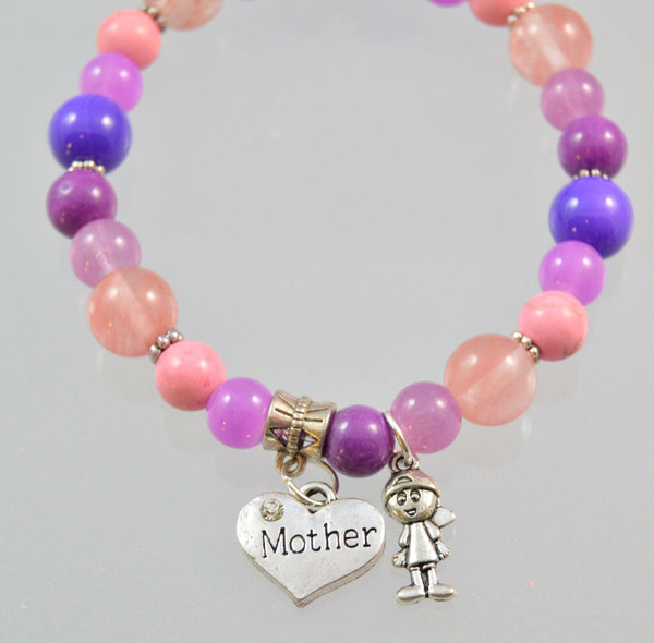 Mothers Bracelet, Gift for Mother, Beaded Bracelet, Gemstone Bracelet, Gift from Kids, Gift for Mom, Mom Bracelet, Mom Jewelry, Mother's Day - Flying Bird Jewelry