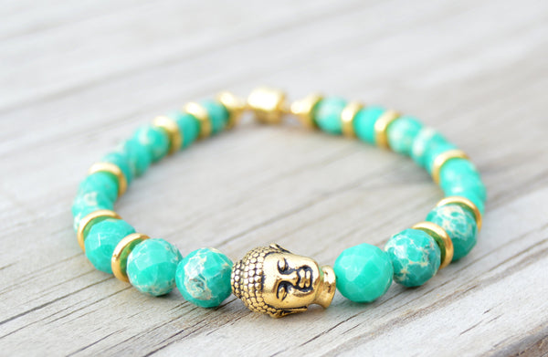 Gold Buddha Beaded Bracelet, Buddha Bracelet, Jasper Beads, Magnetic Clasp, Gemstone Bracelet, Zen Jewelry, Layered Bracelet, Gold Bracelet - Flying Bird Jewelry