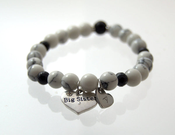 Initial Big Sister Bracelet, Beaded Bracelet, Black and White Bracelet, Gemstone Bracelet, Women's Bracelet, Gift for Sister, Handstamped - Flying Bird Jewelry