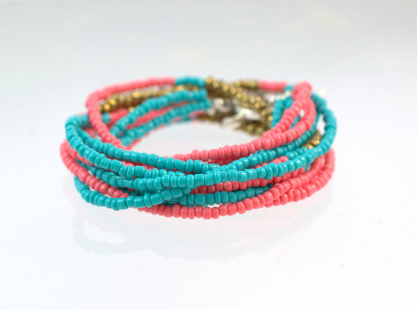 Seed Bead Bracelet and Necklace, Turquoise Beaded Bracelet, Coral Pink, Boho Jewelry, Multi Strand Necklace, Beaded Bracelet, Gift for Her - Flying Bird Jewelry