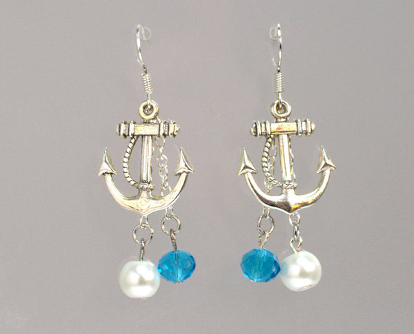 Silver Anchor Earrings, Nautical Jewelry, Nautical Wedding, Beach Wedding, Beach Earrings, Anchor Jewelry, Womens Earrings, Pearl Earrings - Flying Bird Jewelry