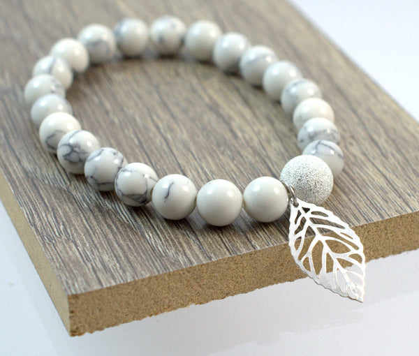 White Beaded Bracelet with Leaf Charm, Womens Bracelet, Stretch Bracelet, Beaded Bracelet, Gift for Her, Trendy Jewelry, Handmade - Flying Bird Jewelry